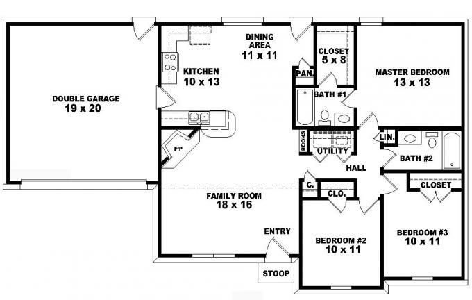 Best One Story Ranch Style House Plans One Story 3 Bedroom 2 With Pictures