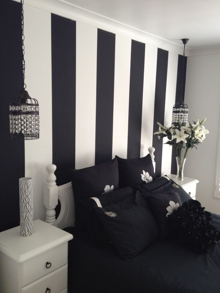 Best Inspiring Painted Wall Designs For Bed Room By Black White With Pictures