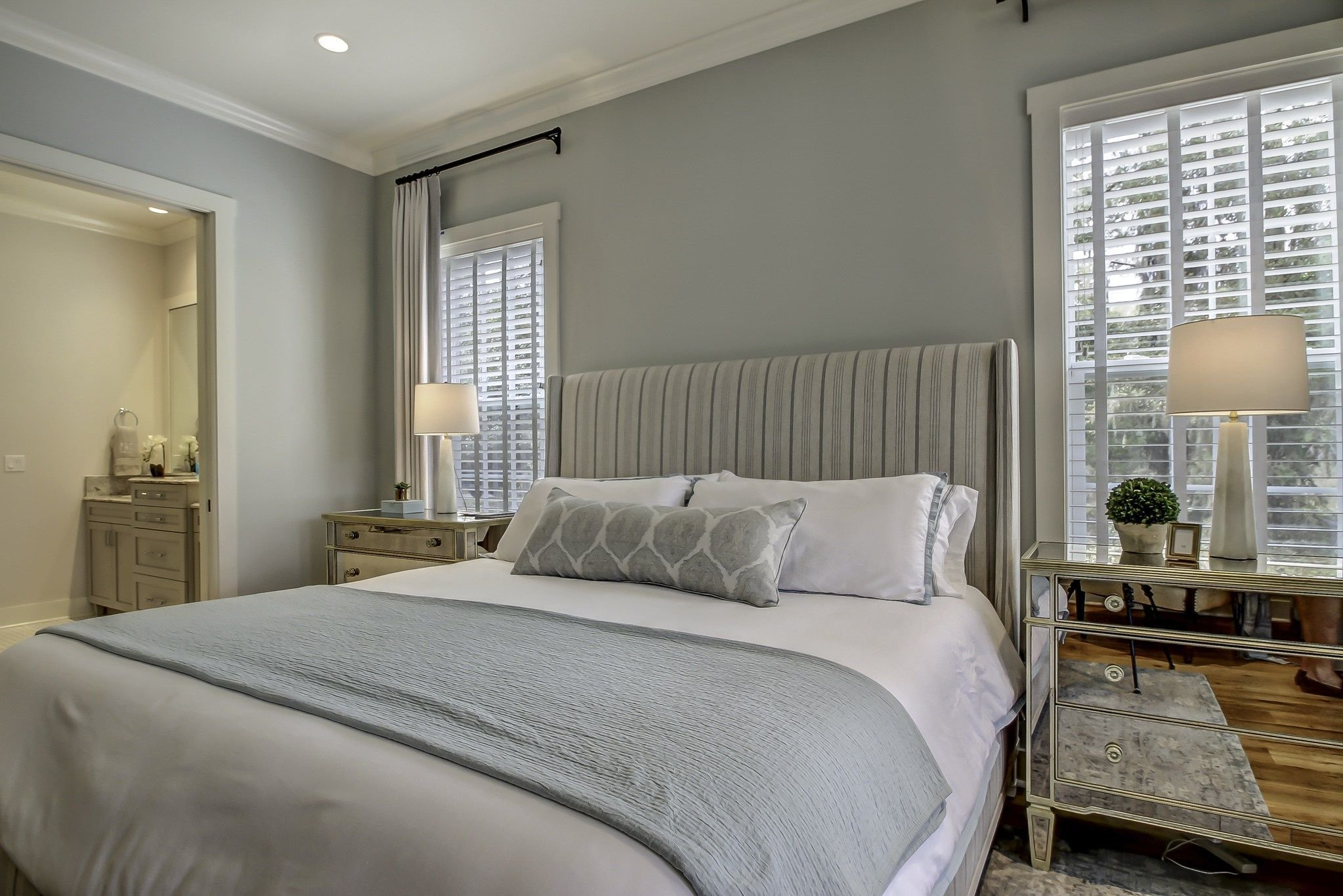 Best Cool Neutral Master Bedroom With Benjamin Moore Quiet With Pictures