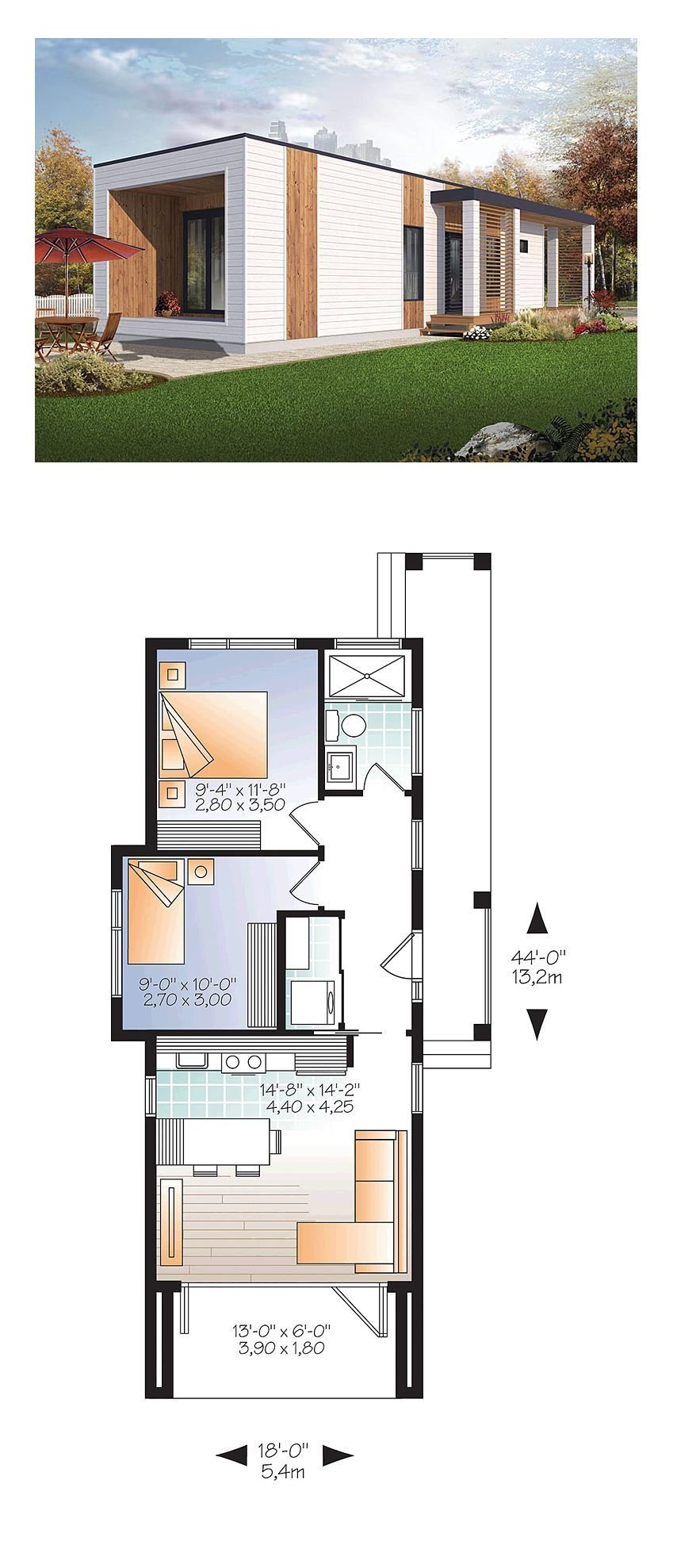Best Modern House Plan 76460 Total Living Area 631 Sq Ft With Pictures