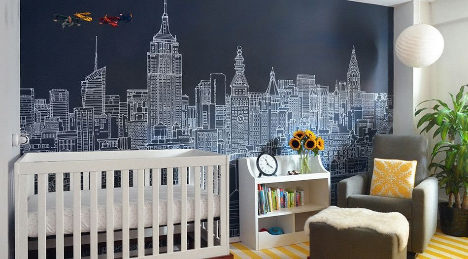 Best New York Skyline Vector Wall Mural Wallpaper For Kids With Pictures