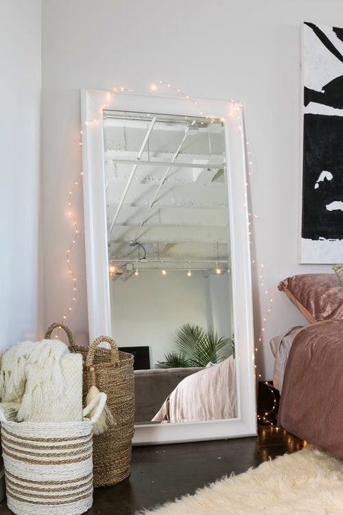 Best Midtown Loft White Floor Mirror Fairy Lights Wakeandloom The W L Finishing Touch In 2019 With Pictures