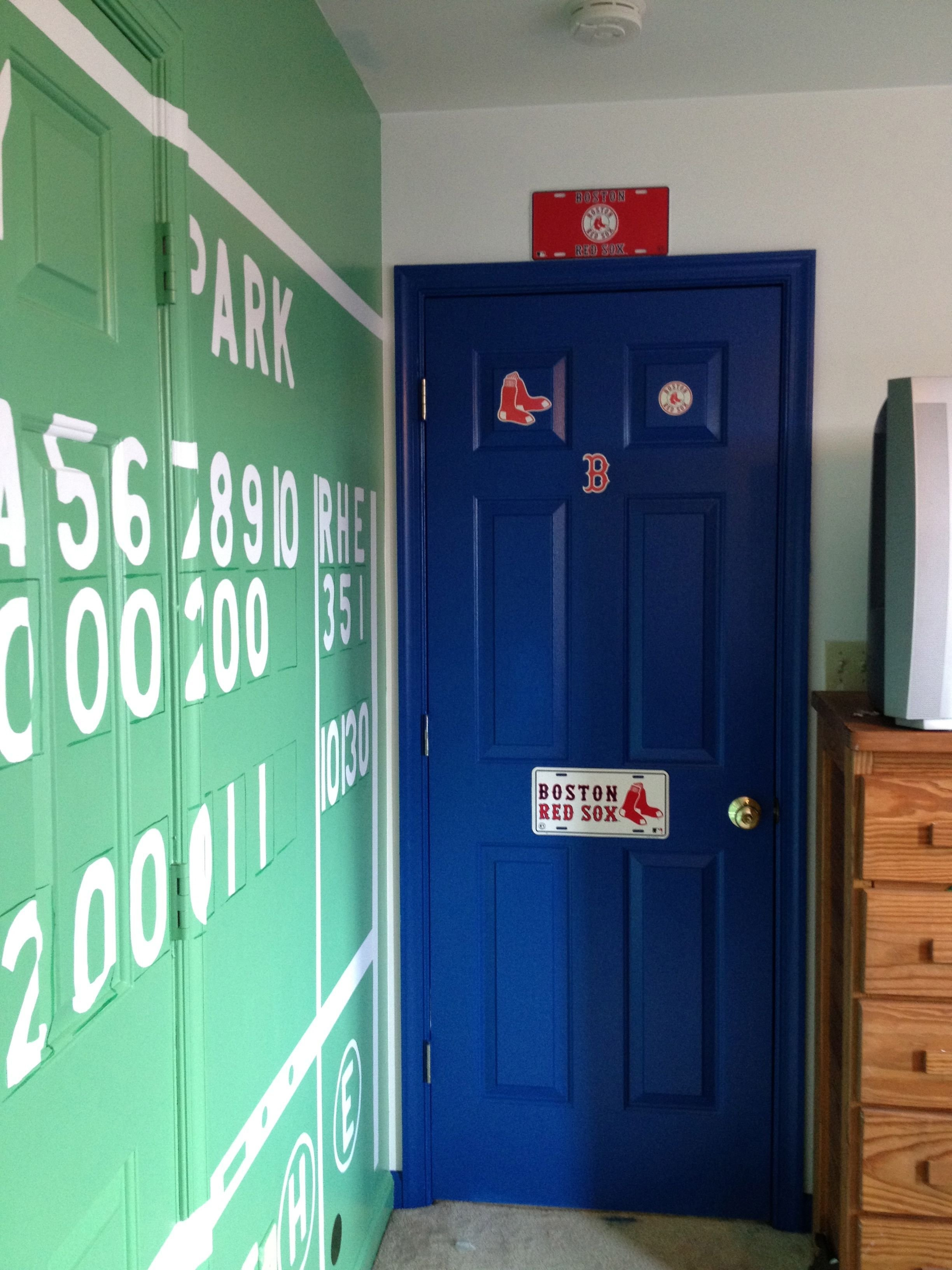 Best Red Sox Bedroom With The Green Monster Score Board Red With Pictures