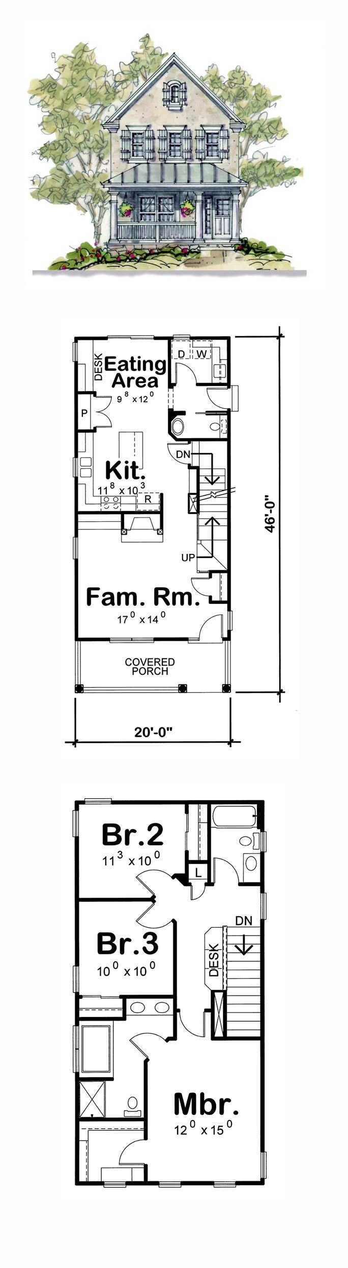Best Narrow Lot House Plan 66630 Total Living Area 1575 Sq With Pictures