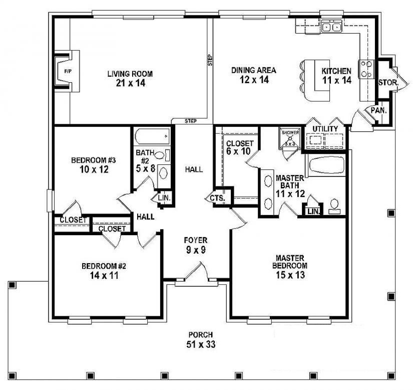 Best 654151 One Story 3 Bedroom 2 Bath Southern Country With Pictures