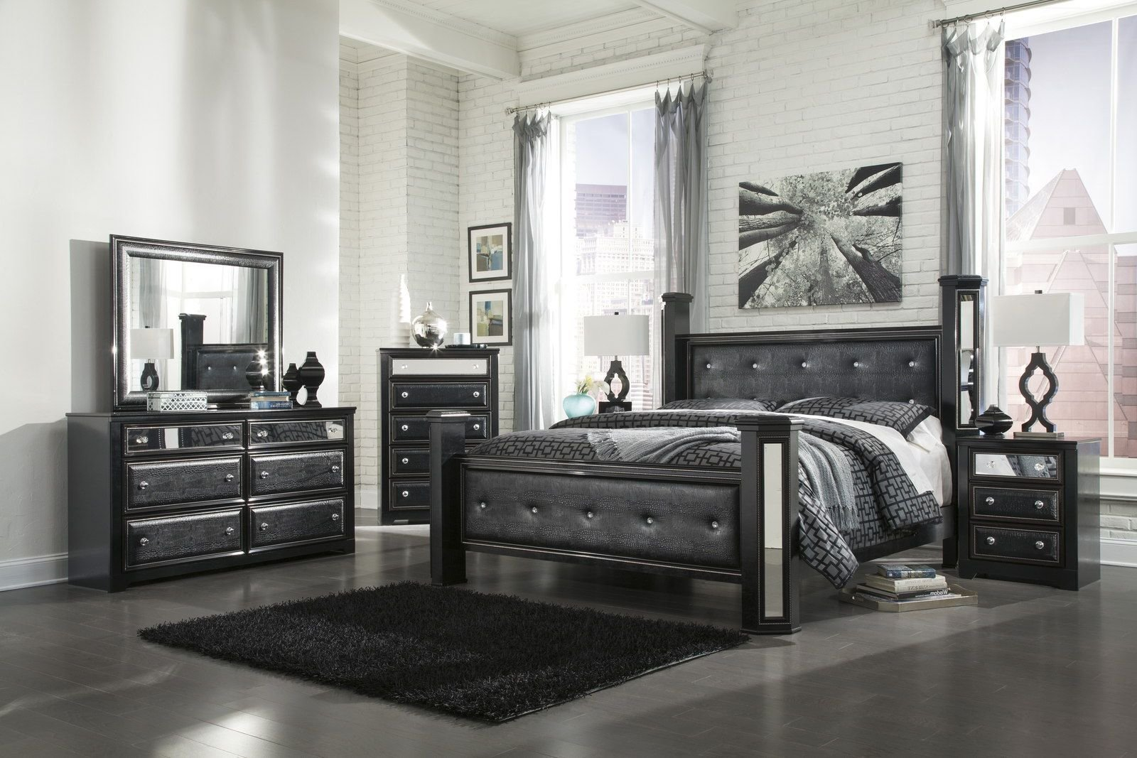 Best Ashley Alamadyre Queen Upholstered Poster Bedroom Set In With Pictures