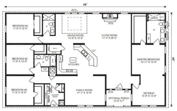 Best Ranch House Floor Plans 4 Bedroom Love This Simple No With Pictures