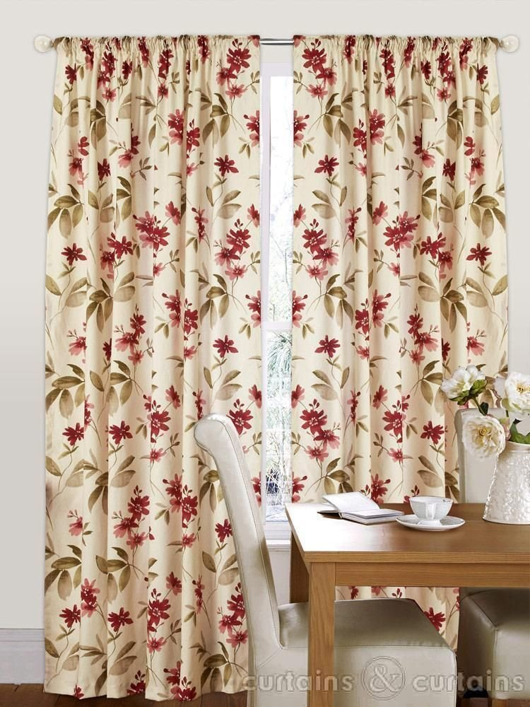 Best Amazon Red Cream Floral Pencil Pleat Curtains Vintage With Pictures