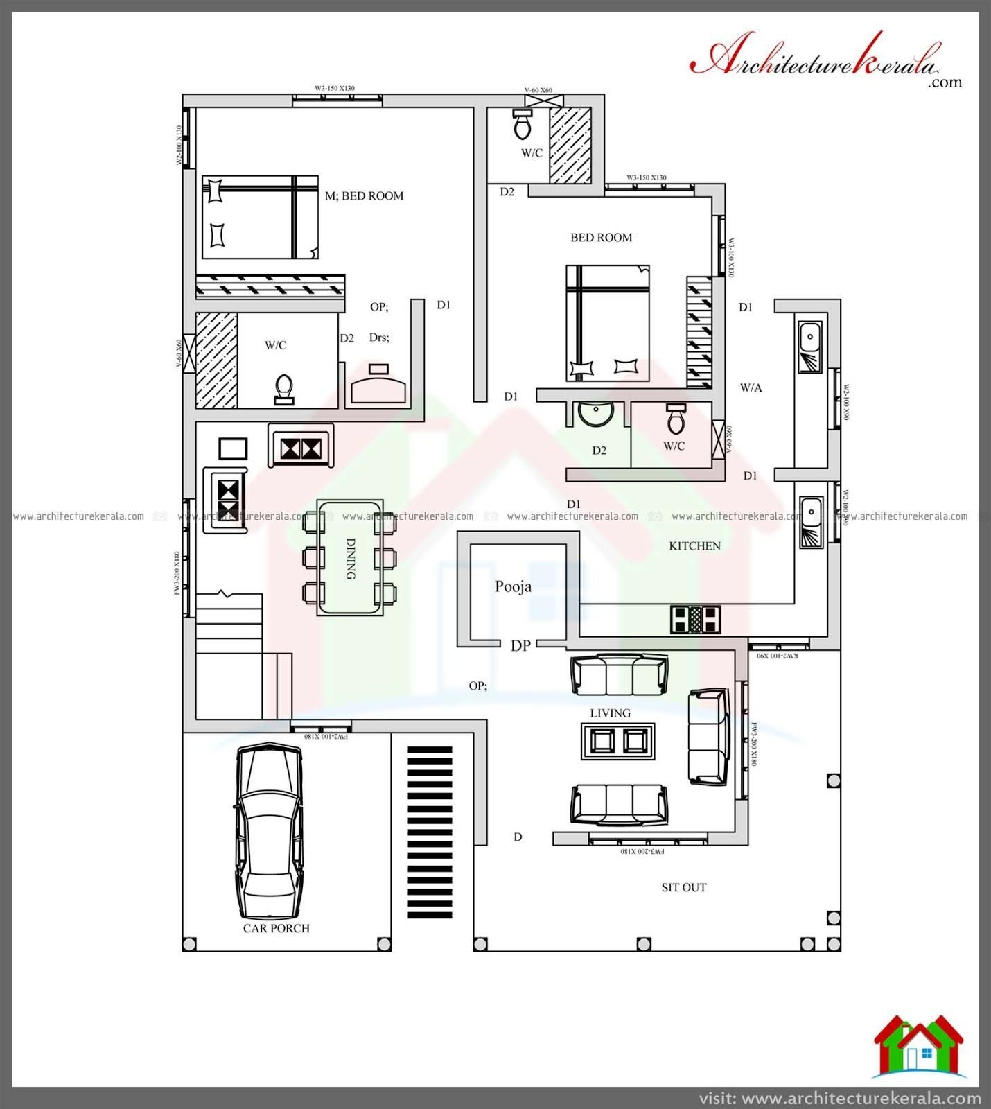 Best 4 Bed House Plan With Pooja Room Architecture Kerala With Pictures