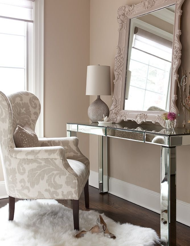 Best The Elegant Abode Li Bedroom Mirrored Vanity Wing Chair With Pictures