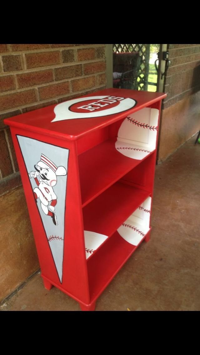 Best Cincinnati Reds Theme Hand Painted Book Shelf Jami With Pictures