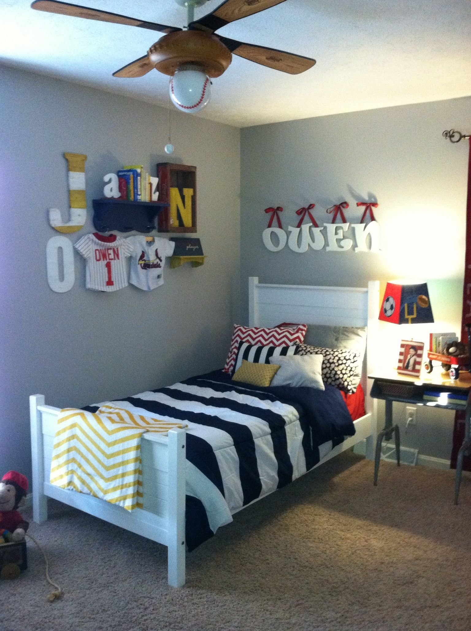 Best Vintage Boys Room Sports Navy Red Yellow Boys Rooms With Pictures