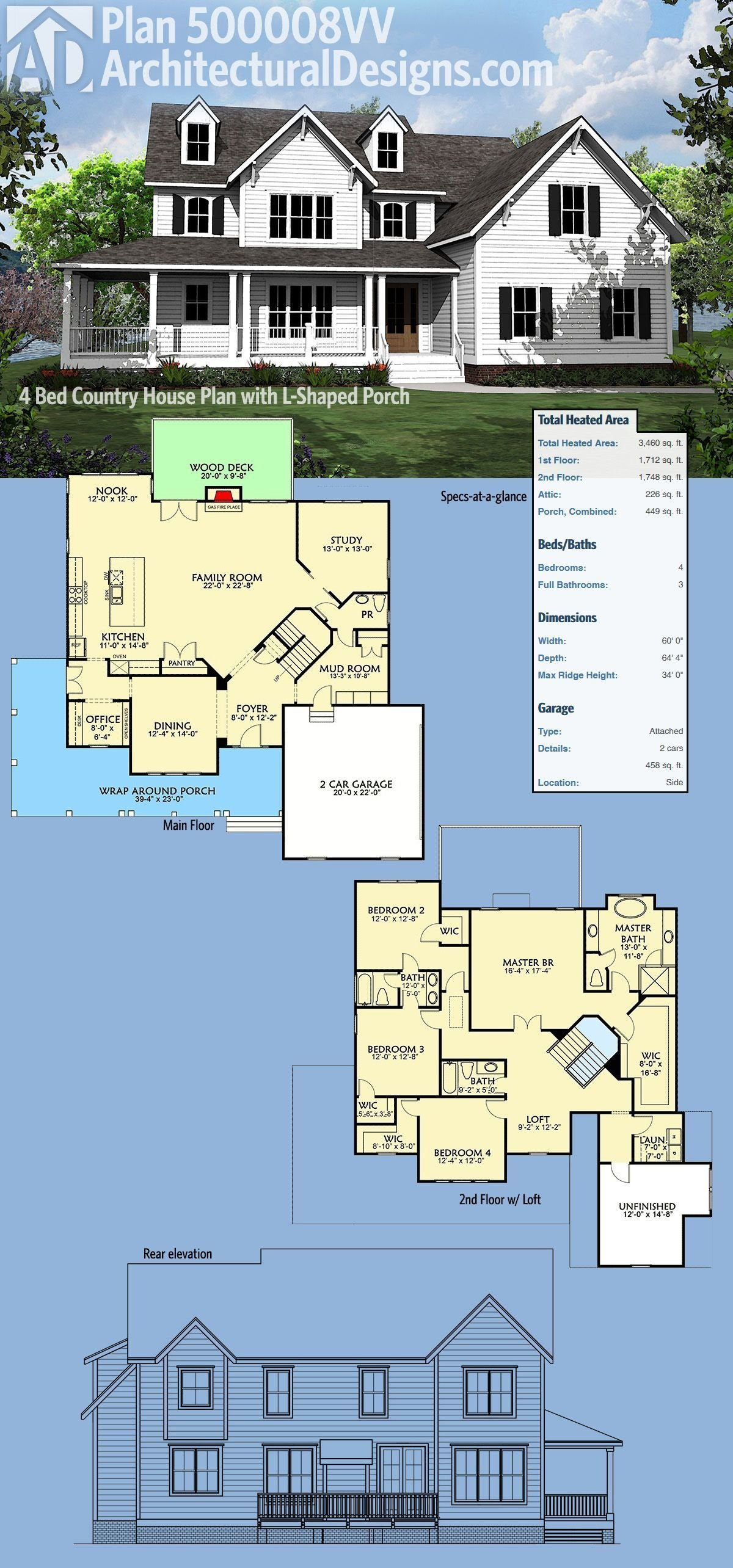 Best Plan 500008Vv 4 Bed Country House Plan With L Shaped With Pictures