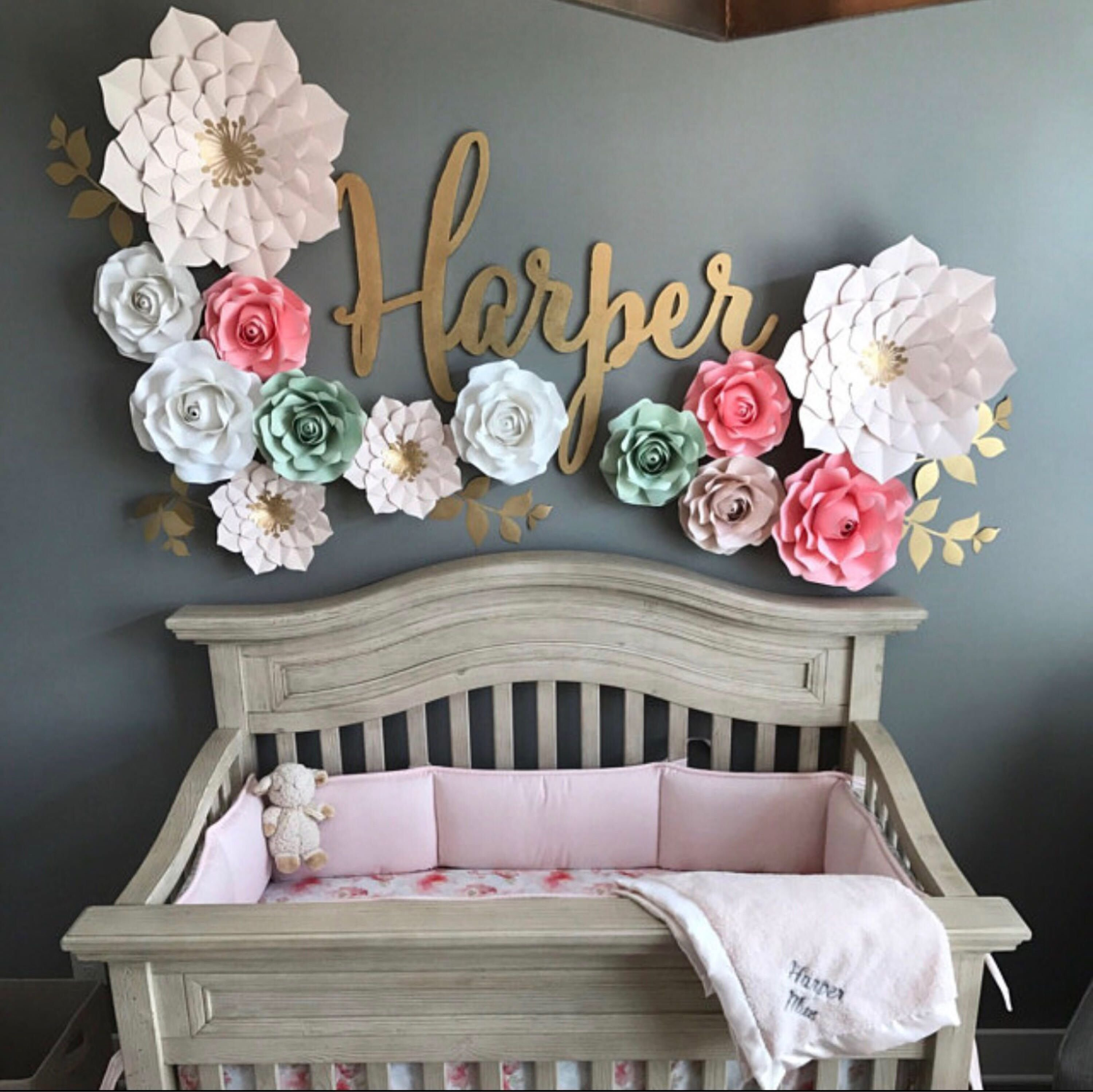 Best Nursery Paper Flowers Set 2 Giant 2 Medium 9 Small Flowers Perfect For Decorating A With Pictures