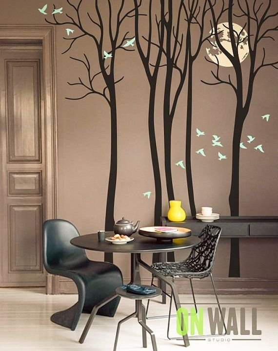 Best Full Moon Living Room Vinyl Wall Tree Decal By With Pictures