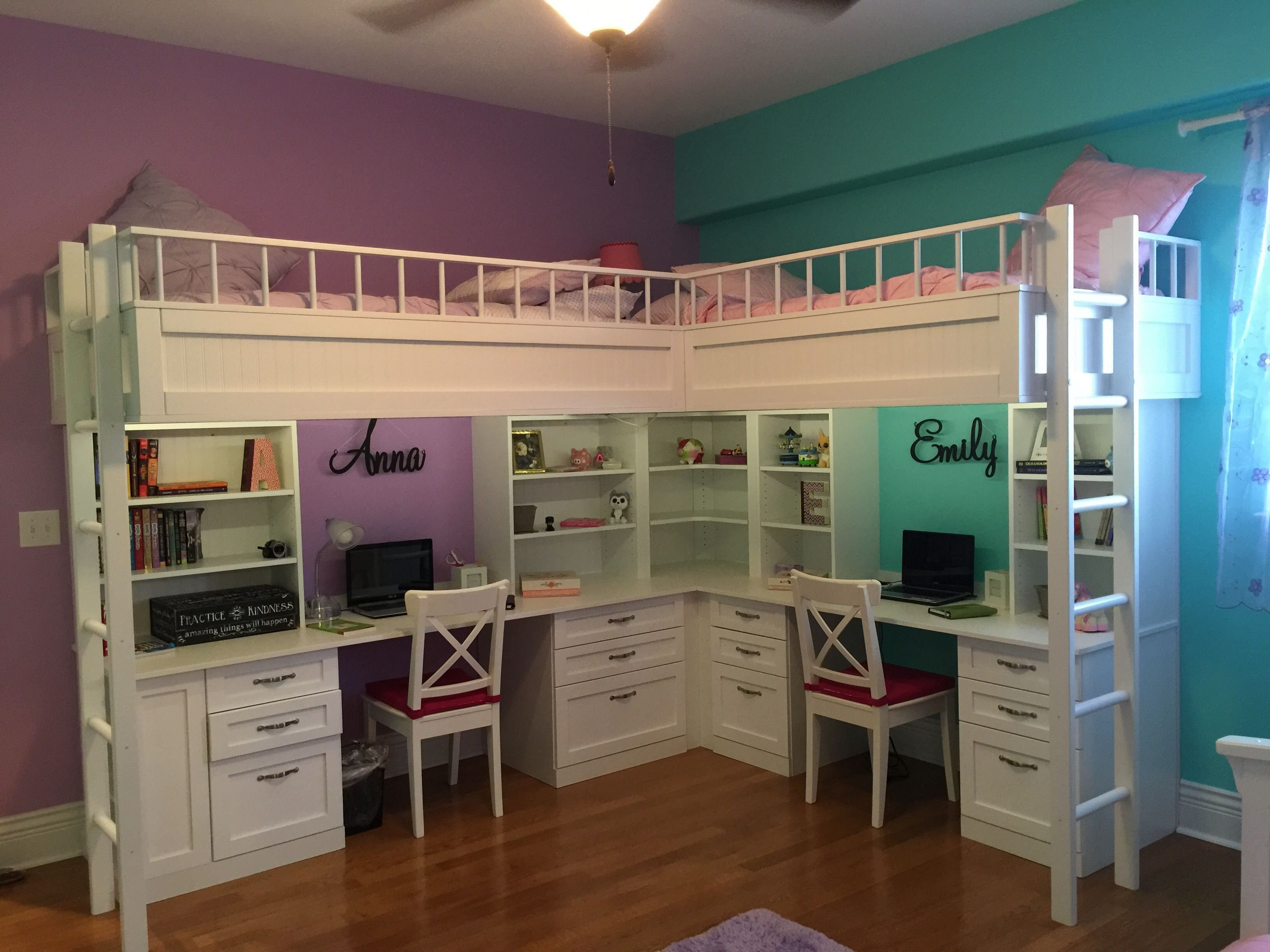 Best Custom Made Dual Loft Beds With Desks Kids Room Decor With Pictures