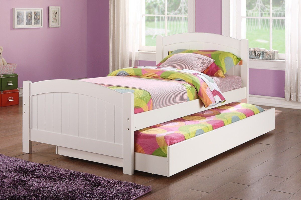 Best Poundex F9218 White Twin Bed With Trundle 320 Girl Room Pinterest White Trundle Bed Twin With Pictures