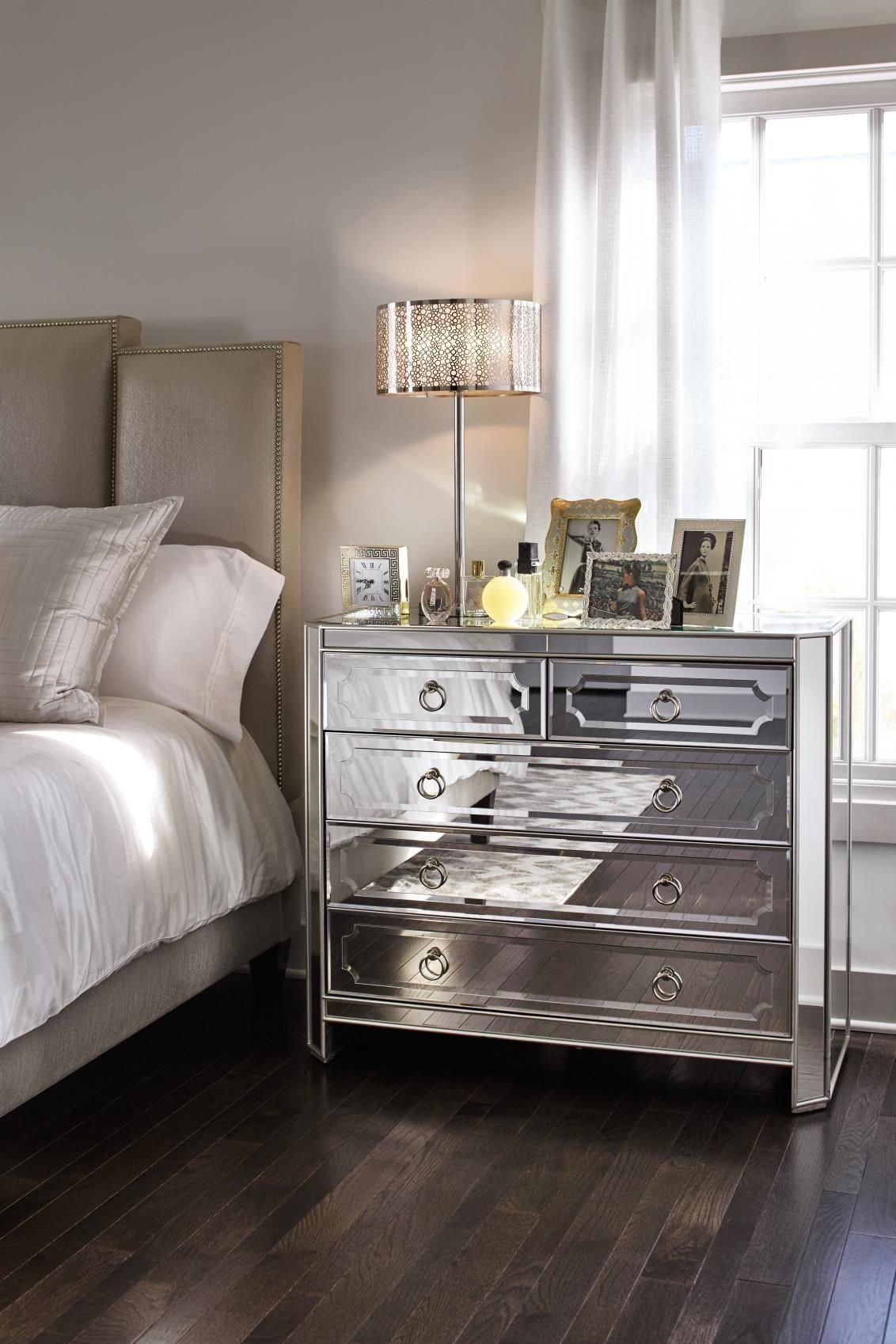 Best Harlow Bedside Chest Mirrored Glam Time Bedroom With Pictures