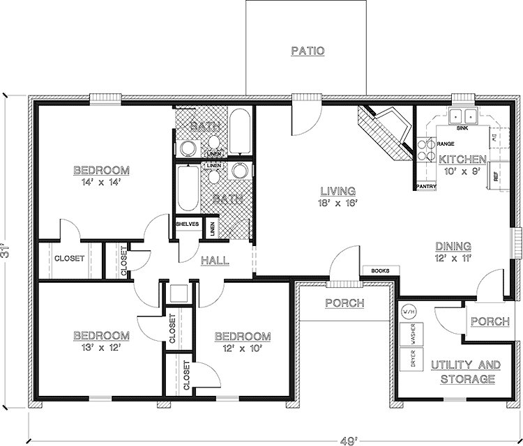 Best Simple One Story 3 Bedroom House Plans Imagearea Info With Pictures