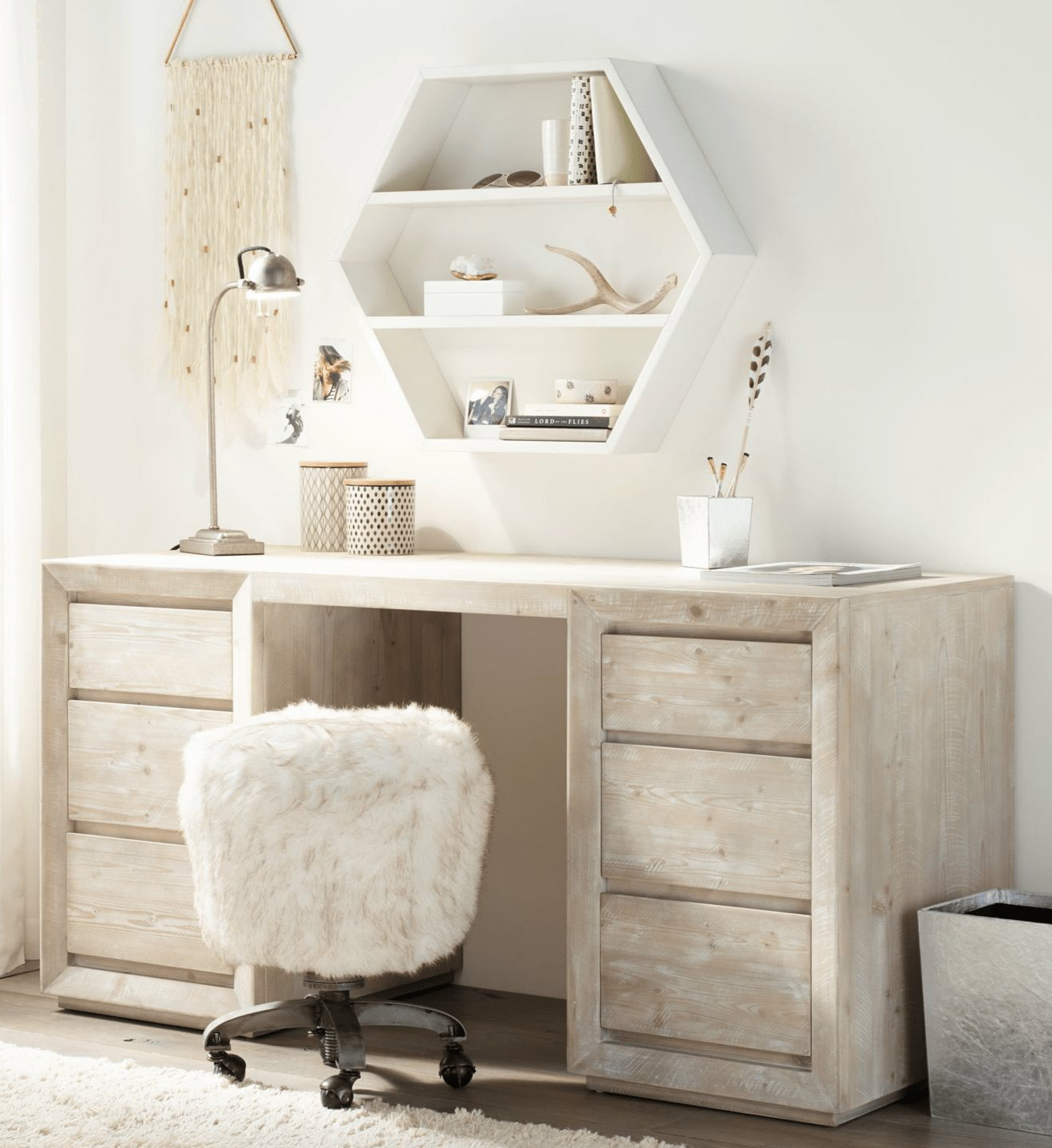Best A Storage Desk Pairs With Geometric Shelving To Create A With Pictures
