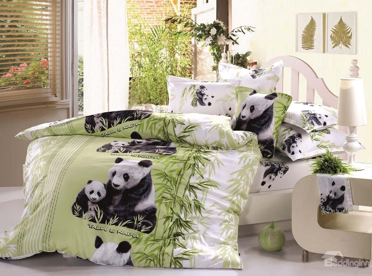 Best 3D Mother And Baby Pandas Printed Cotton 4 Piece Bedding With Pictures