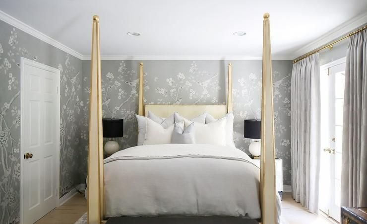 Best Design Works Bedroom Schumacher Chinois Palais Grey Gold With Pictures
