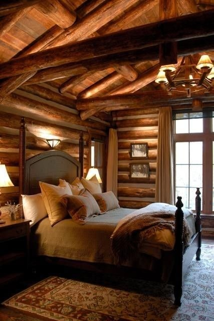 Best Modern Rustic Log Cabin Love This Cabin Bedroom With Pictures