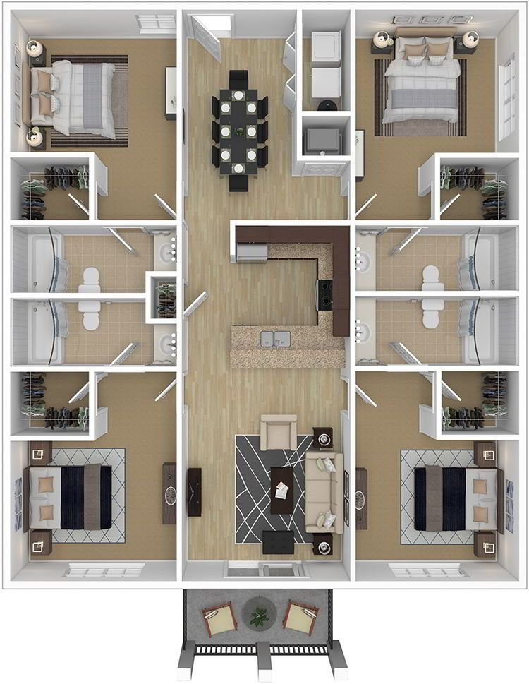 Best Gallery Decoration 4 Bedroom Apartments Luxury Four With Pictures