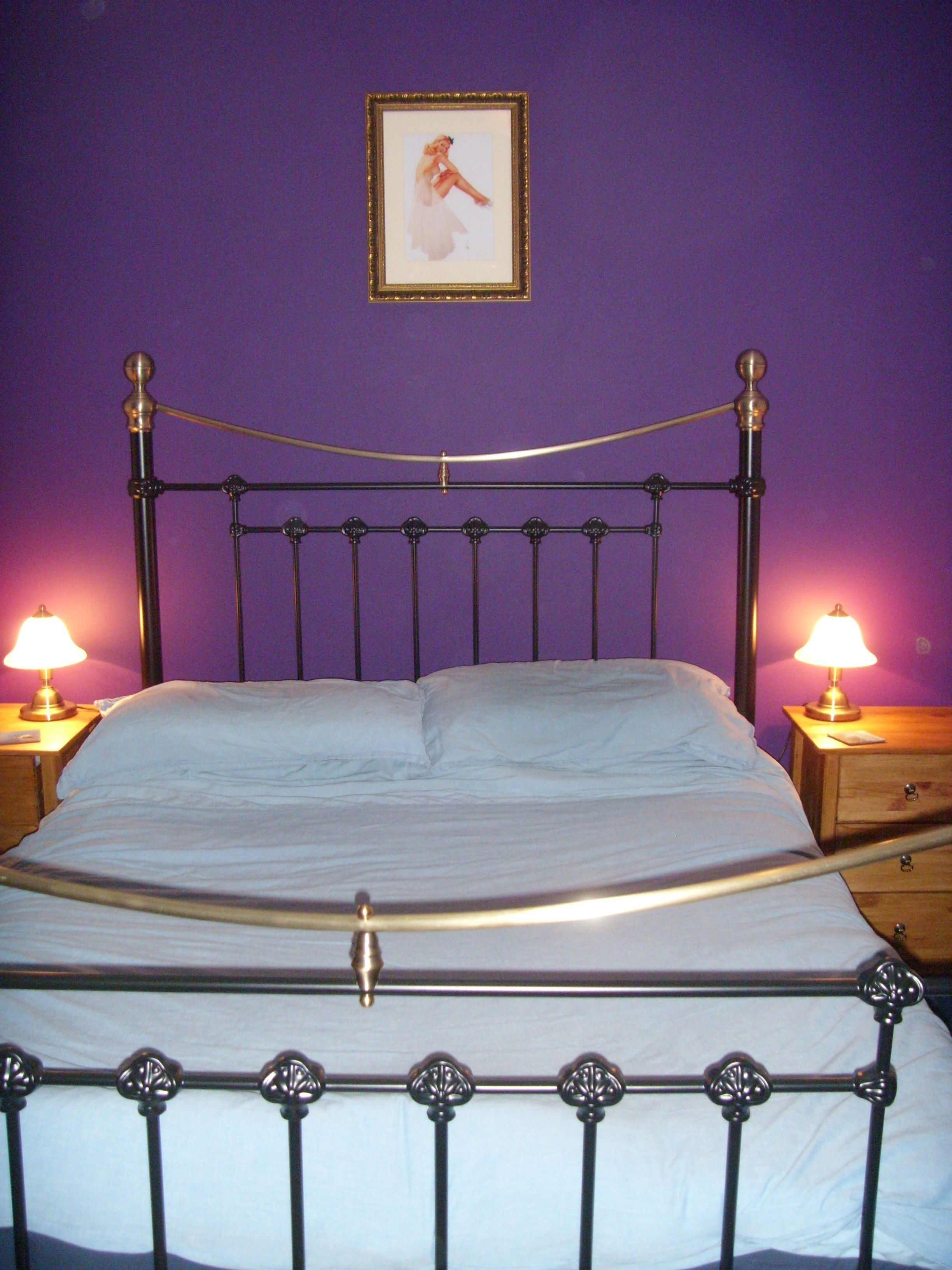 Best Purple Feature Wall In Our Bedroom And Our Fab Bedknobs With Pictures
