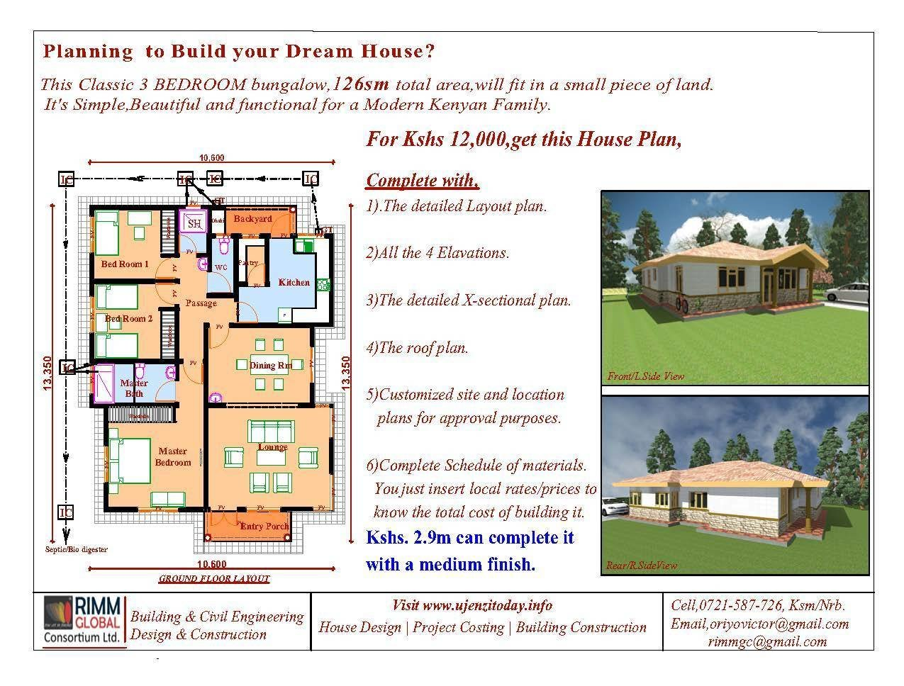 Best Buy A 3 Bedroom Bungalow And Cost Of Building It Ujenzi With Pictures