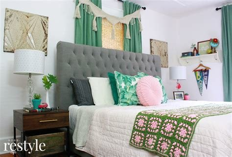 Best Pink Green Boho Bedroom Makeover Robb Restyle With Pictures