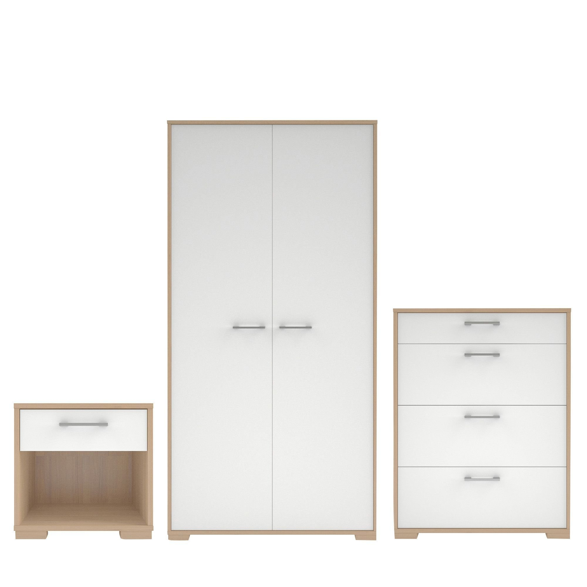 Best Evie Matt High Gloss White Oak Effect 3 Piece Bedroom With Pictures