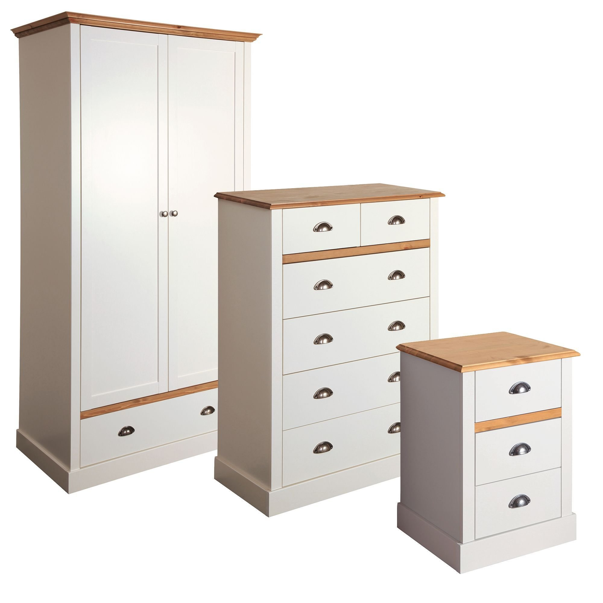 Best Hemsworth Cream Oak Effect 3 Piece Bedroom Furniture Set With Pictures