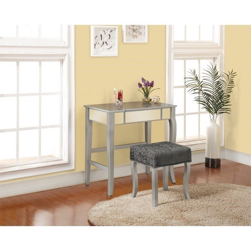 Best Bedroom Vanity Set In Silver 580432Sil01U With Pictures