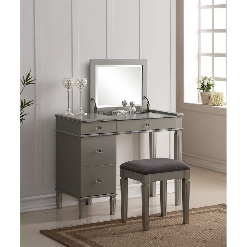 Best Bedroom Vanity Set In Silver 580435Sil01U With Pictures