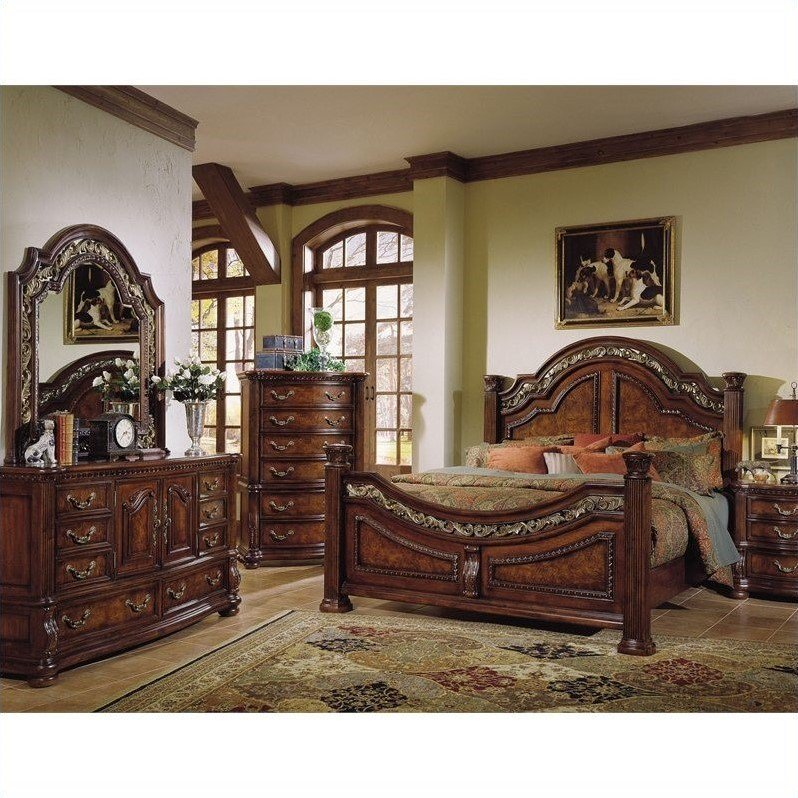Best Samuel Lawrence San Marino Panel Bedroom Set In Dark Brown With Pictures