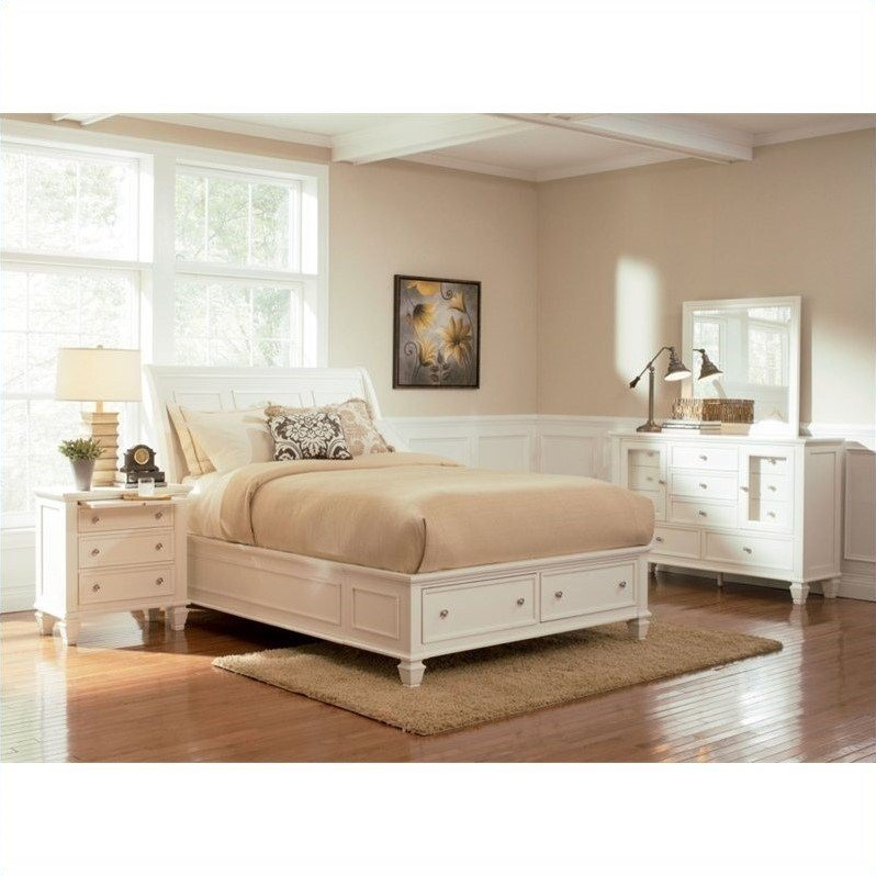 Best Coaster Sandy Beach 4 Piece Storage Bedroom Set In White With Pictures