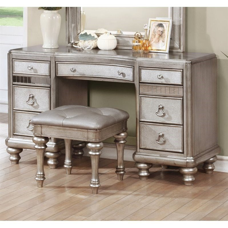 Best Coaster Bling Game 7 Drawer Bedroom Vanity In Metallic Platinum 204187 With Pictures