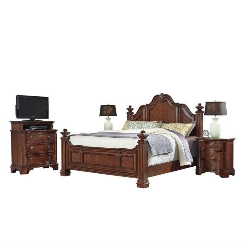 Best Home Styles Santiago King 4 Piece Bedroom Set In Cognac With Pictures