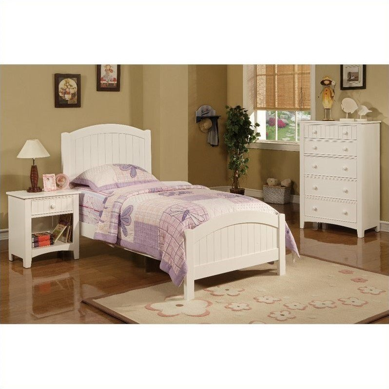 Best Poundex 3 Piece Kids Twin Size Bedroom Set In White Finish With Pictures