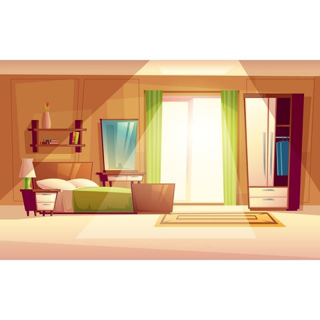 Best Vector Cartoon Illustration Of A Bedroom Interior Bedroom With Pictures