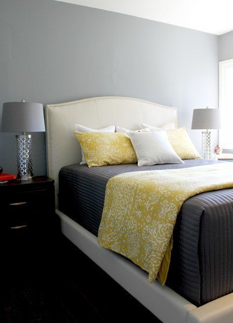 Best Gray Yellow And White Bedding On A White Upholstered Bed With Pictures