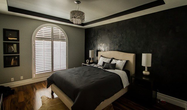Best Sherman Oaks Condo Modern Lamps Black And Gray Bedroom With Pictures