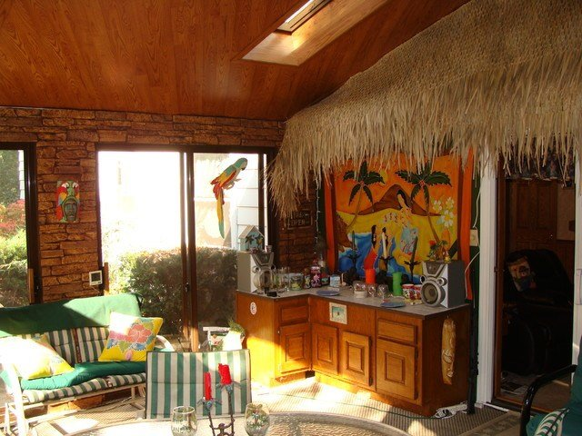 Best Faux Stone Panels Create A Tiki Bar Design Beach Style With Pictures