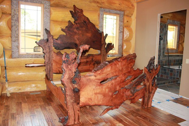 Best Live Edge Redwood Burl Slab Bed Rustic Bedroom With Pictures