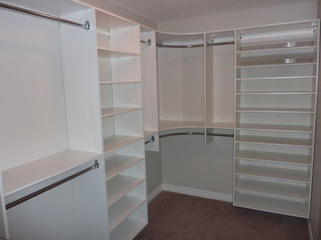 Best Master Bedroom Closet With Shoe Shelving On Right Modern Closet Calgary By Kwik Kloset With Pictures