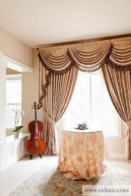Best Baroque Floral Swag Valance Window Treatment Traditional With Pictures
