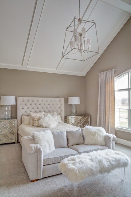 Best Vaulted Ceiling Master Bedroom Transitional Bedroom With Pictures