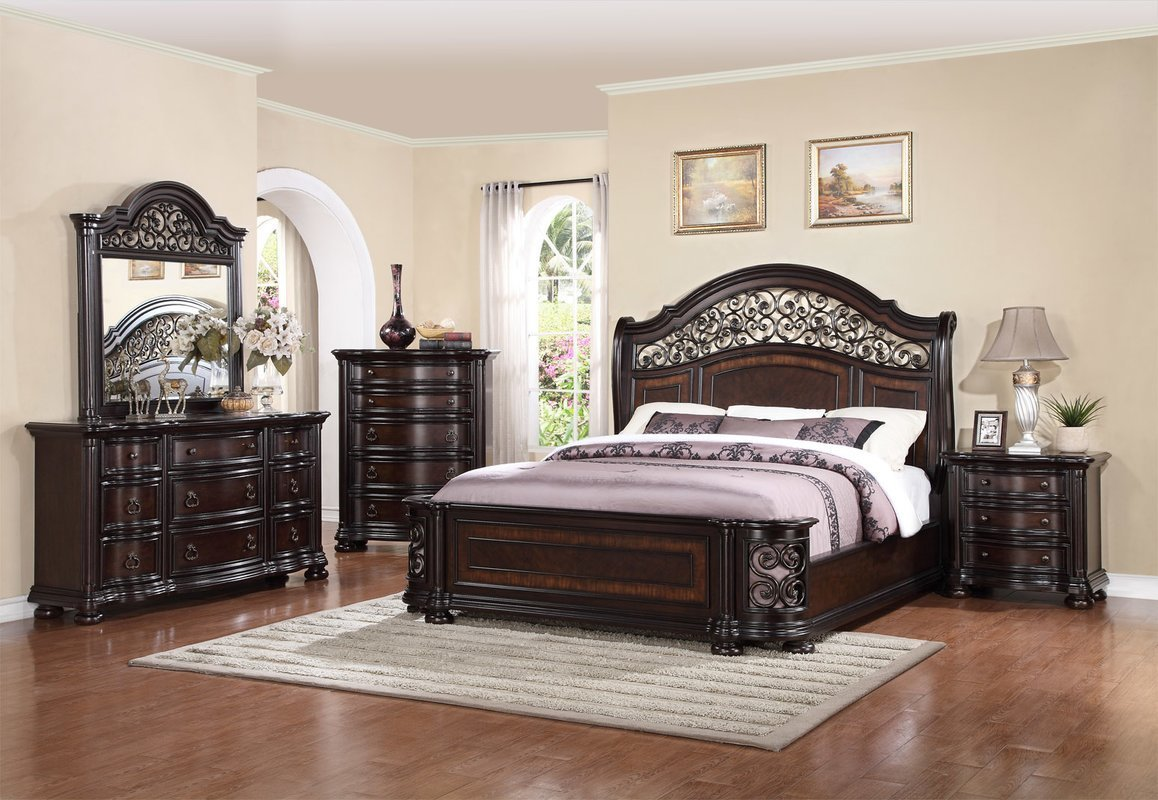 Best Fleur De Lis Living Winkelman King Panel 4 Piece Bedroom With Pictures