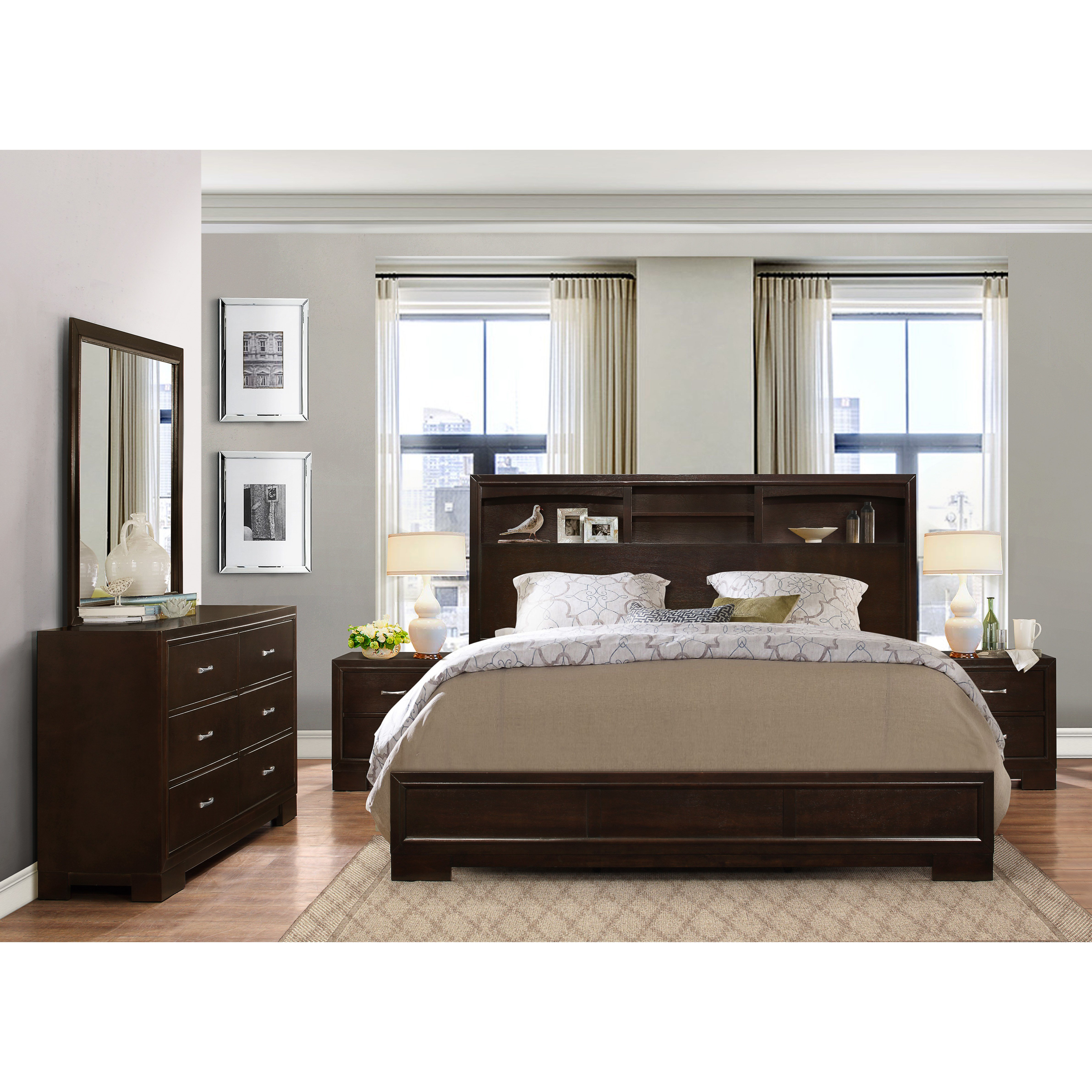 Best Roundhill Furniture Montana Panel 5 Piece Bedroom Set With Pictures
